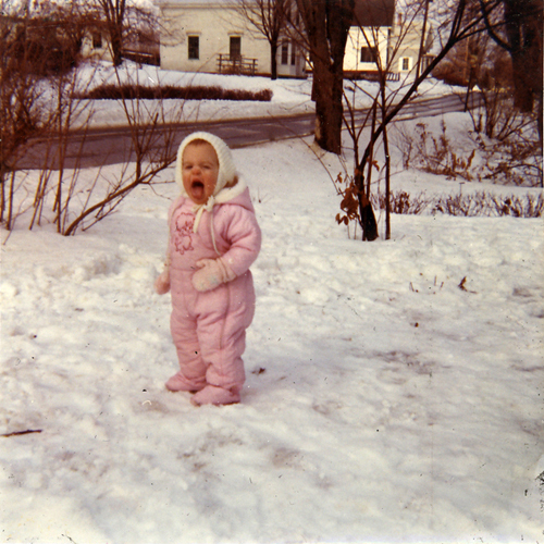 me in my pink snowsuit
